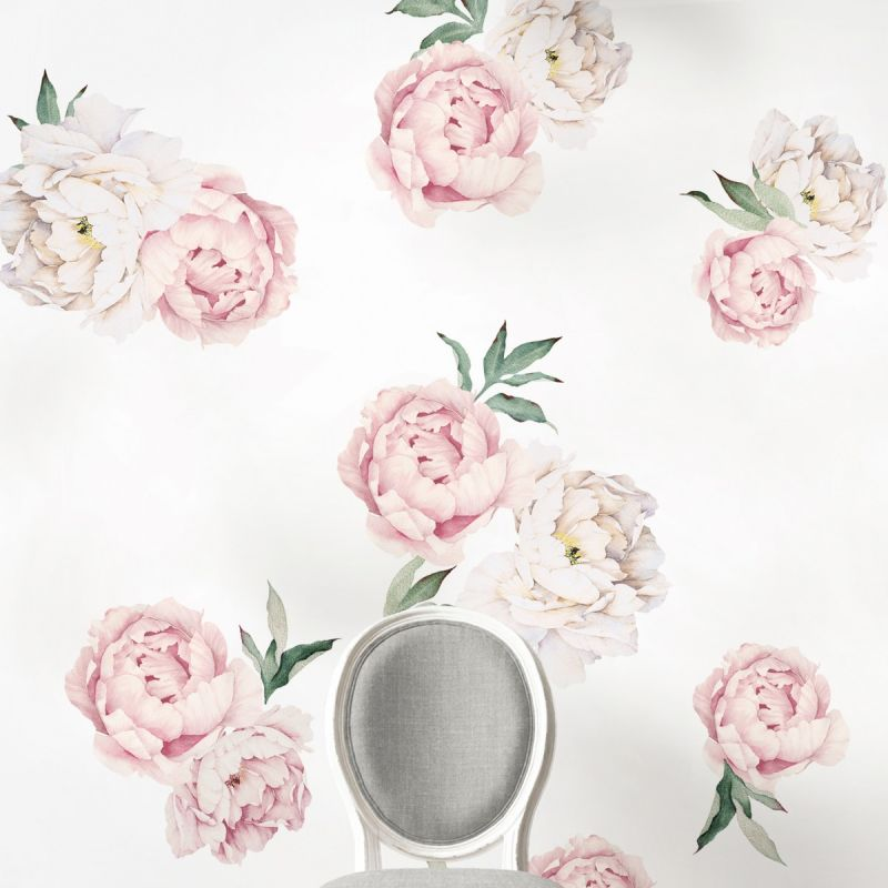 Vintage Pink Large Peony Flowers Wall Sticker