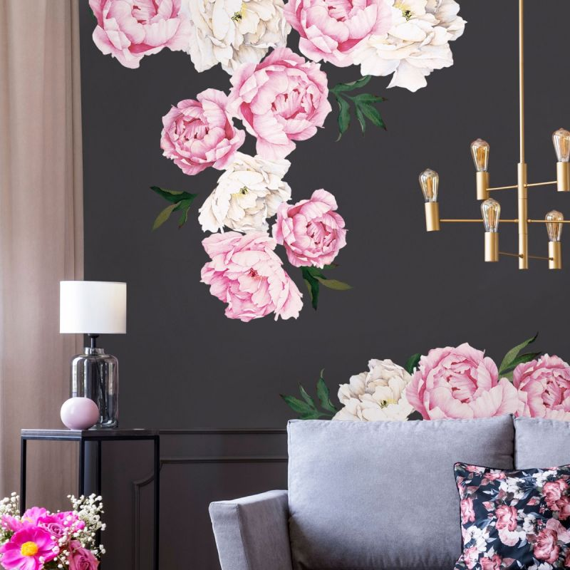 Vivid Pink Large Peony Flowers Wall Sticker
