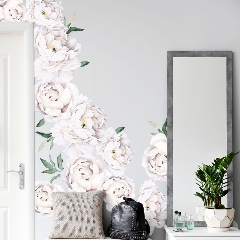 White Large Peony Flowers Wall Sticker