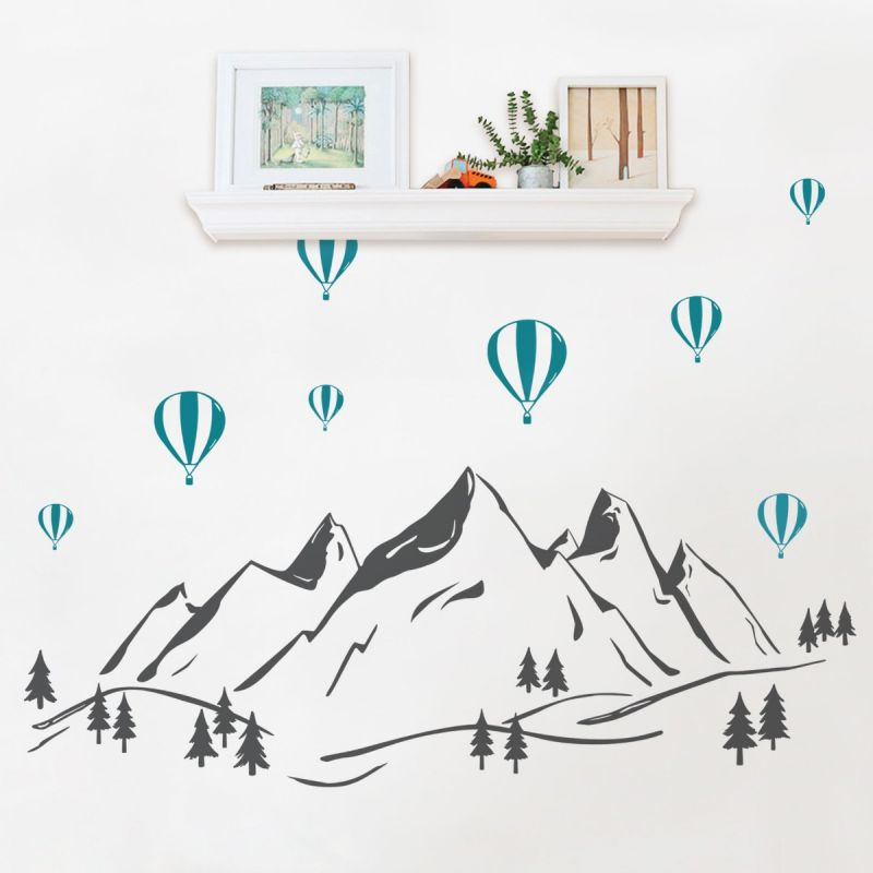 Mountains with Hot Air Balloons Wall Decal - Charcoal Grey and Teal