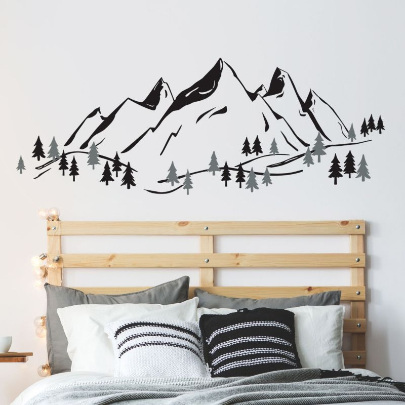 Mountains Wall Decal - With More Trees