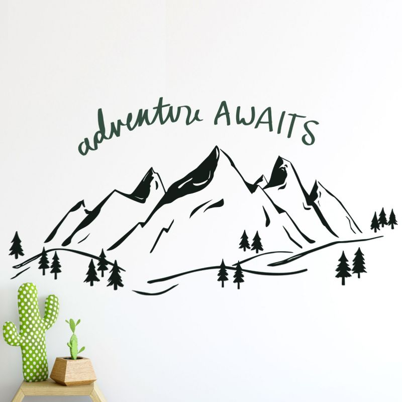 Mountains Wall Decal with Adventure Text