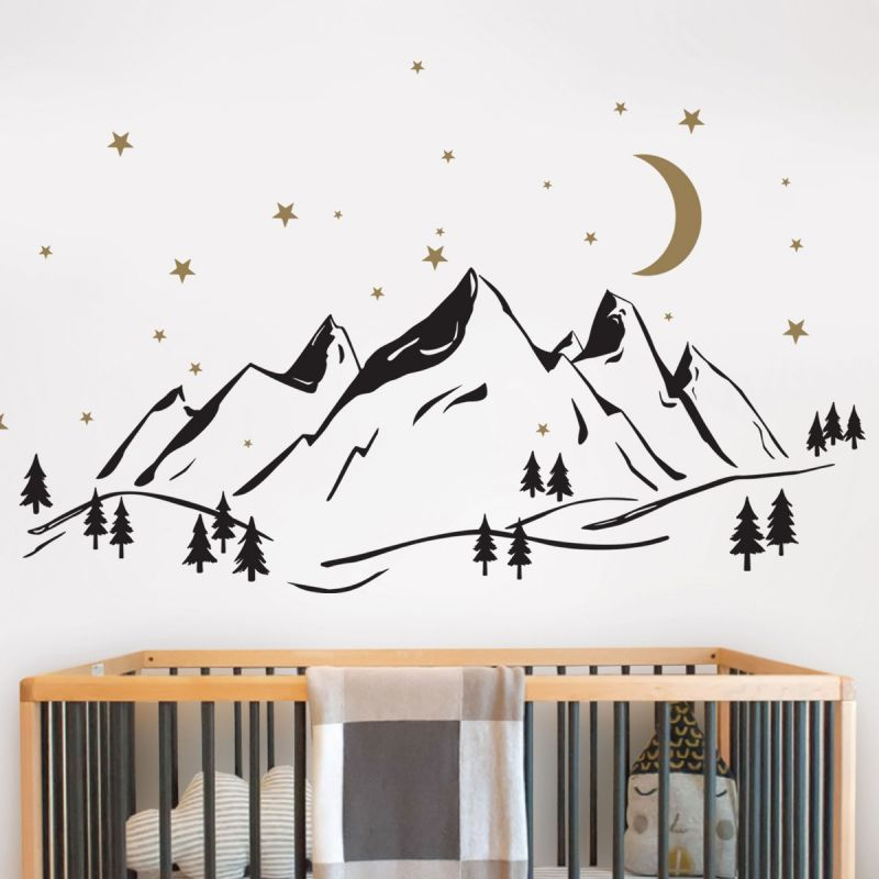 Mountains Wall Decal with Moon and Stars