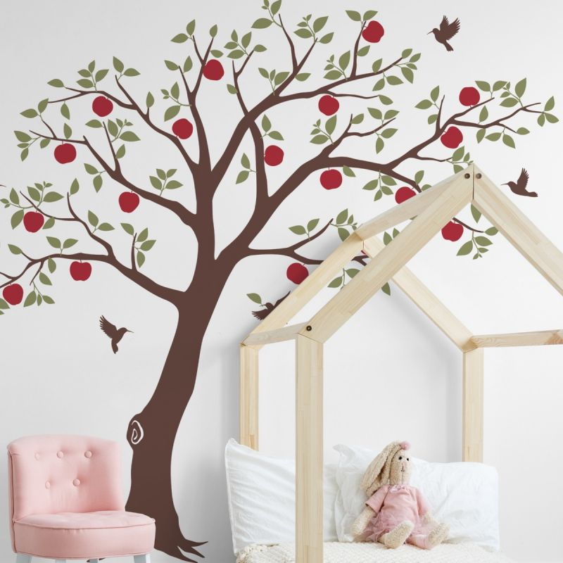 Apple Tree with Hummingbirds Wall Decal