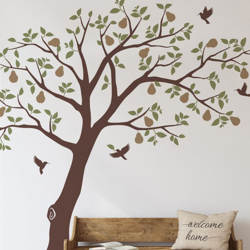 Pear Tree with Hummingbirds Wall Decal