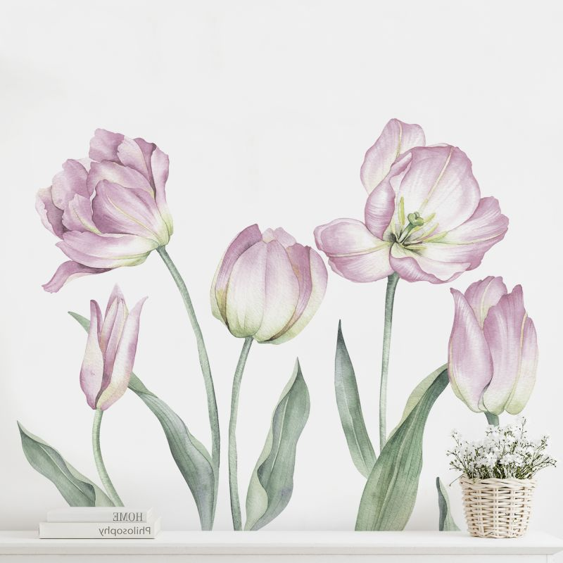Garden Tulips - Peel and Stick Wall Sticker - Lilac
