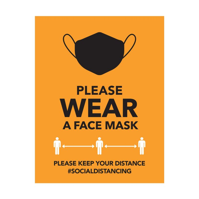 Please Wear A Mask - Wall Sticker Sign - Retail Style - Orange - Single