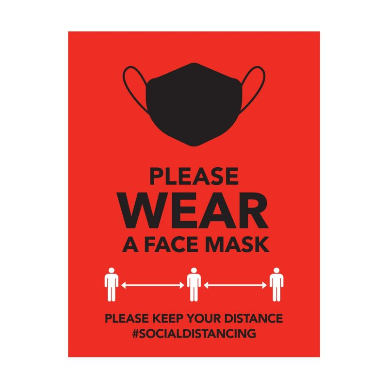 Please Wear A Mask - Wall Sticker Sign - Retail Style - Red - Single