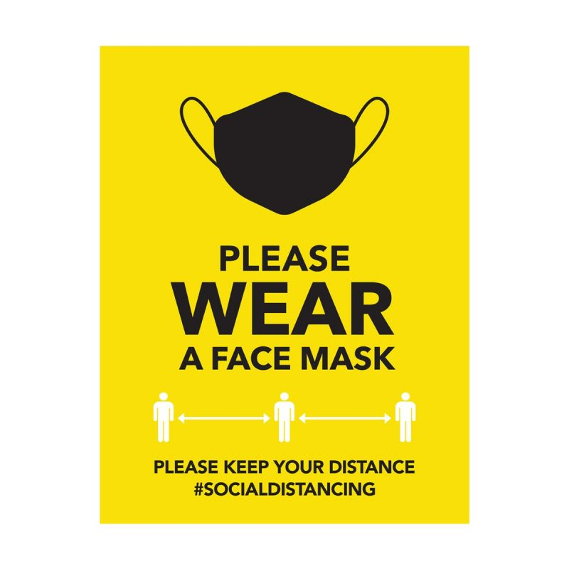Please Wear A Mask - Wall Sticker Sign - Retail Style - Yellow - Single