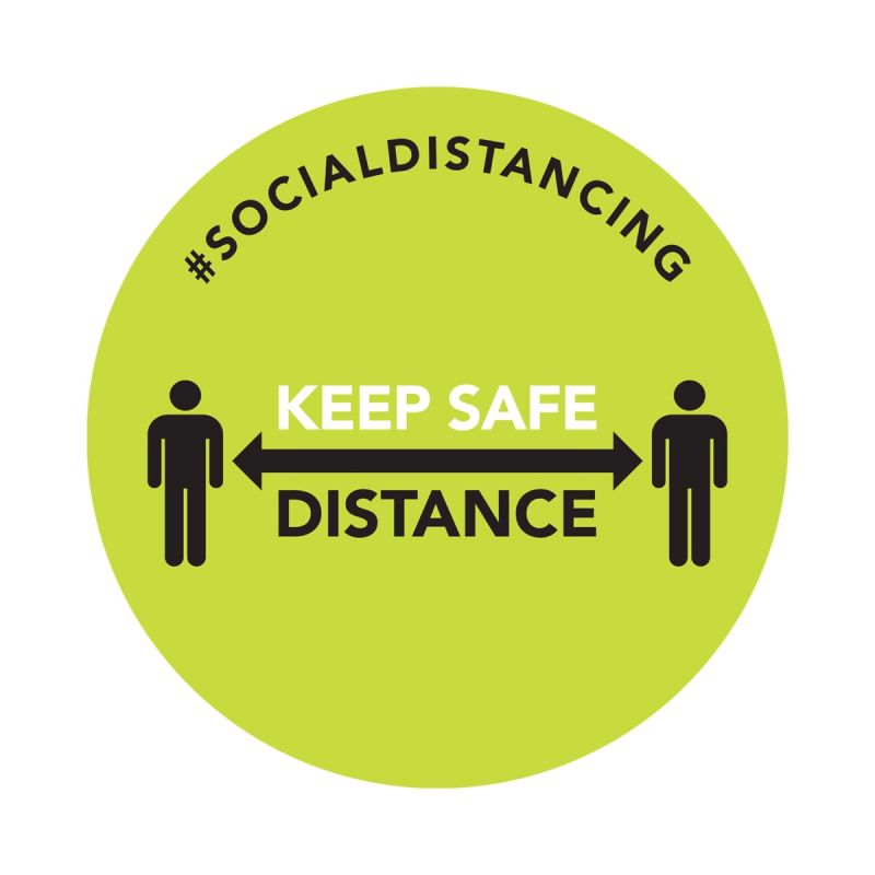 Keep Safe Distance - Floor Sticker - Retail Style - Green - 5 Pack