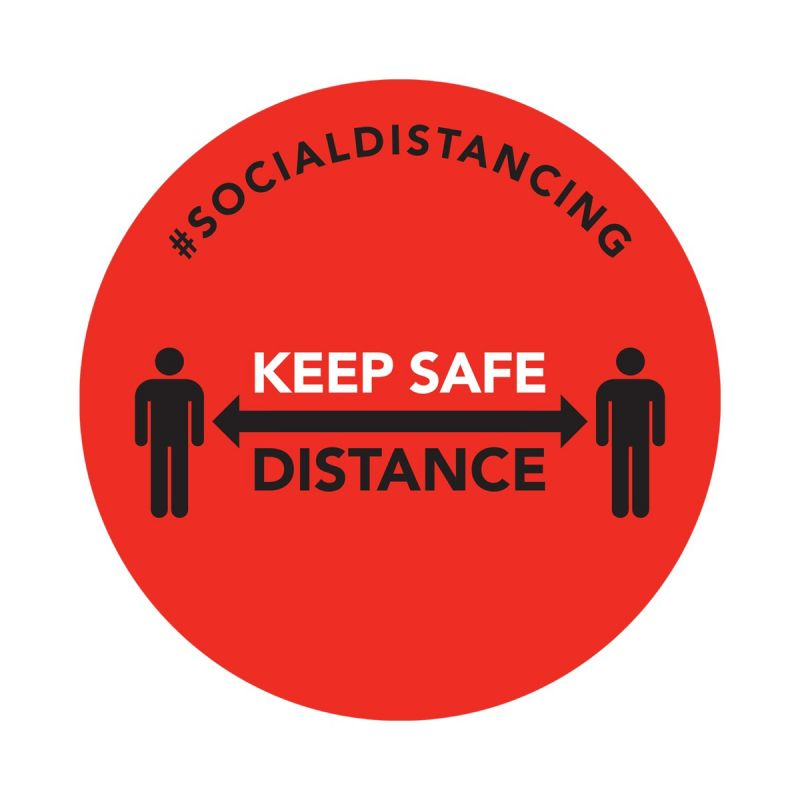 Keep Safe Distance - Floor Sticker - Retail Style - Red - 5 Pack