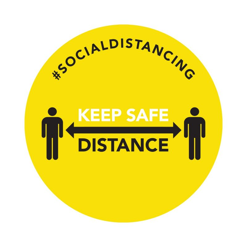 Keep Safe Distance - Floor Sticker - Retail Style - Yellow - 5 Pack