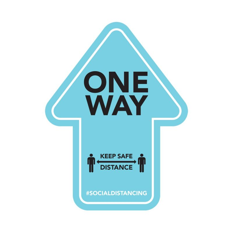 One Way - Floor Sticker - Retail Style - Blue - 4 Pack