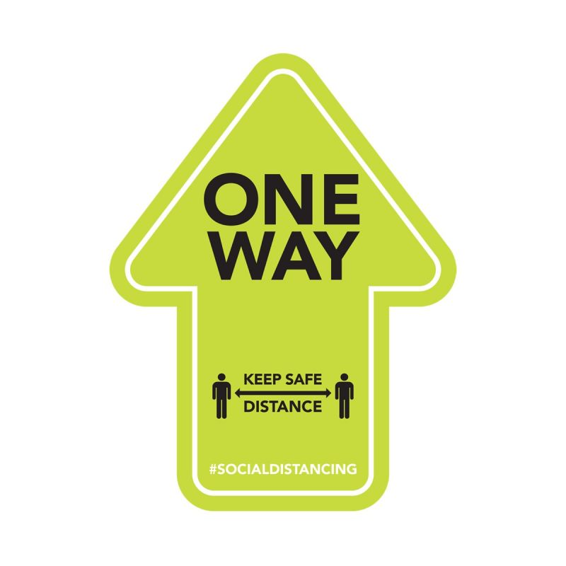 One Way - Floor Sticker - Retail Style - Green - 4 Pack