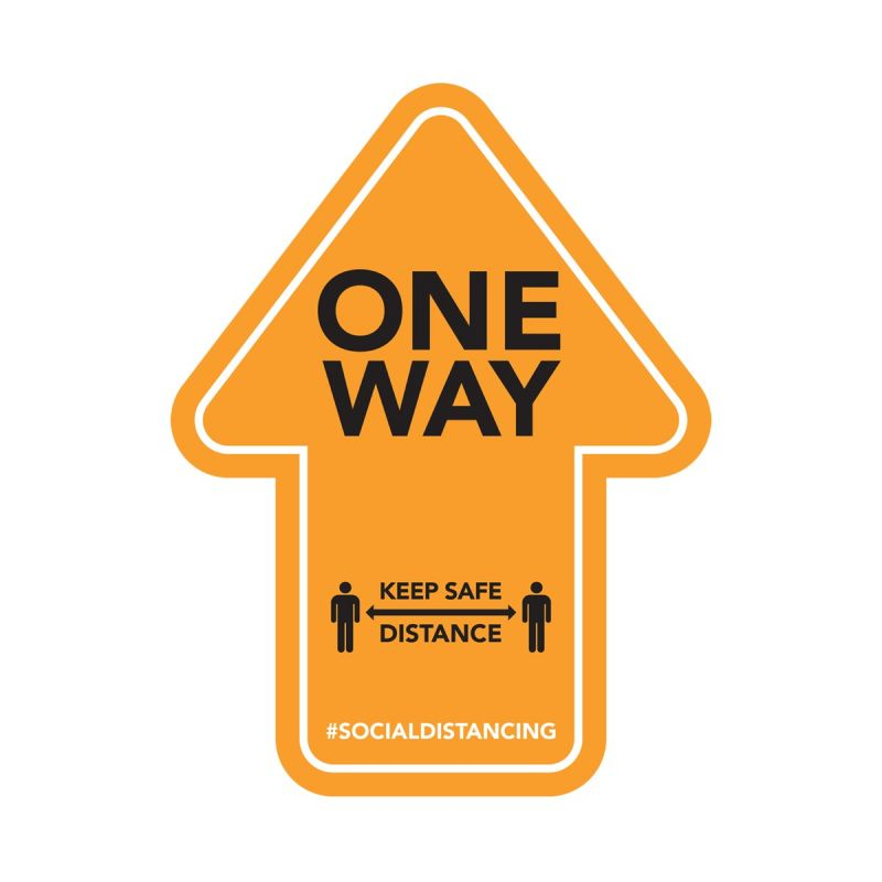 One Way - Floor Sticker - Retail Style - Orange - 4 Pack