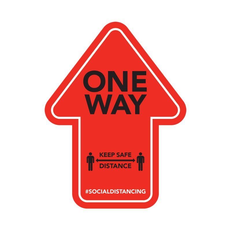 One Way - Floor Sticker - Retail Style - Red - 4 Pack