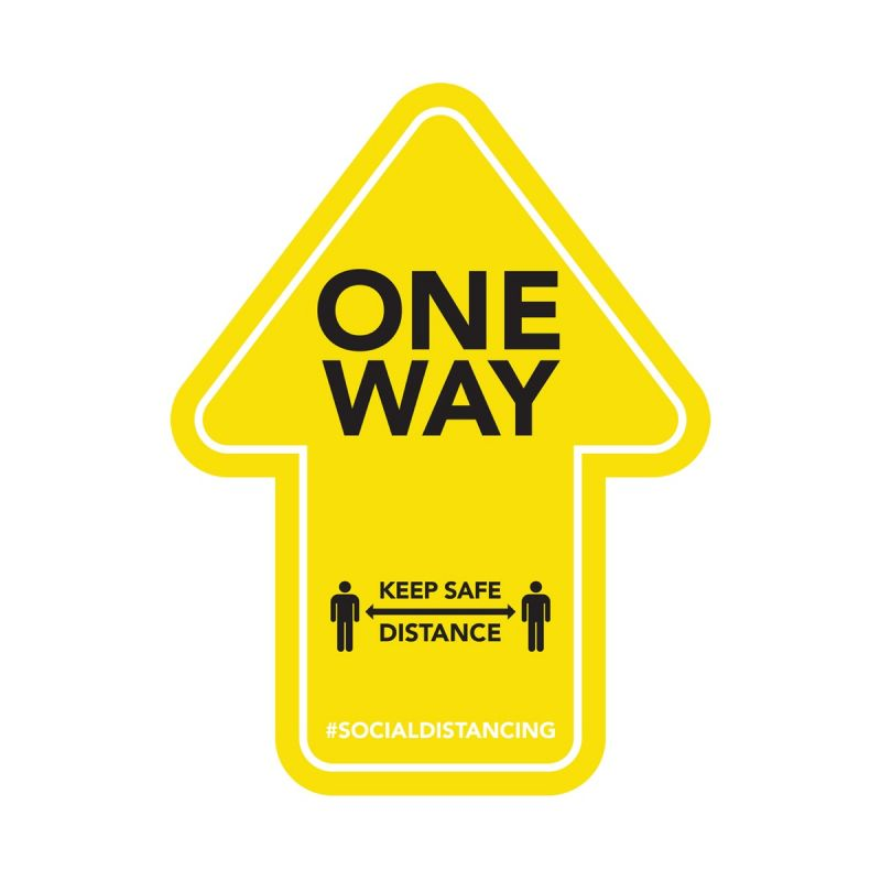One Way - Floor Sticker - Retail Style - Yellow - 4 Pack