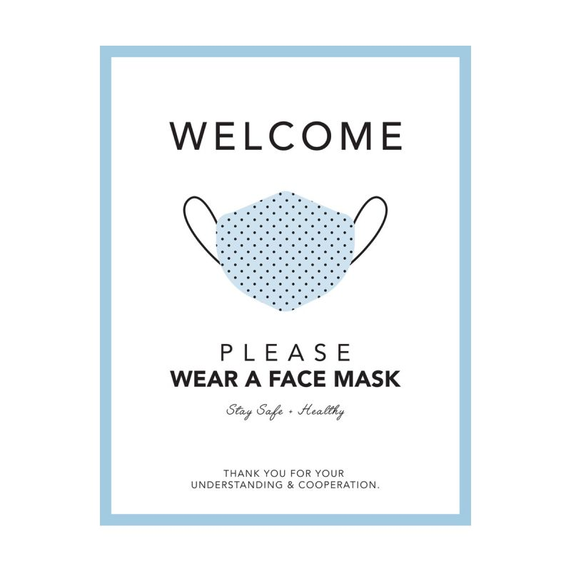Please Wear A Mask - Wall Sticker Sign - Boutique Style - Sky Blue - Single