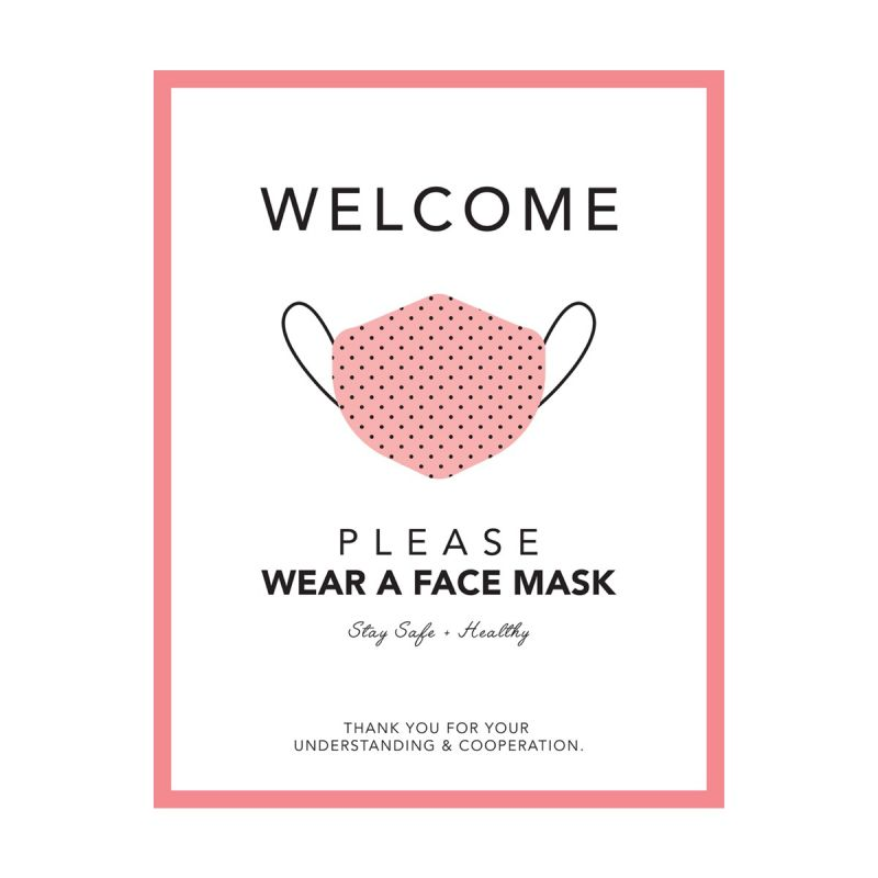Please Wear A Mask - Wall Sticker Sign - Boutique Style - Coral - Single