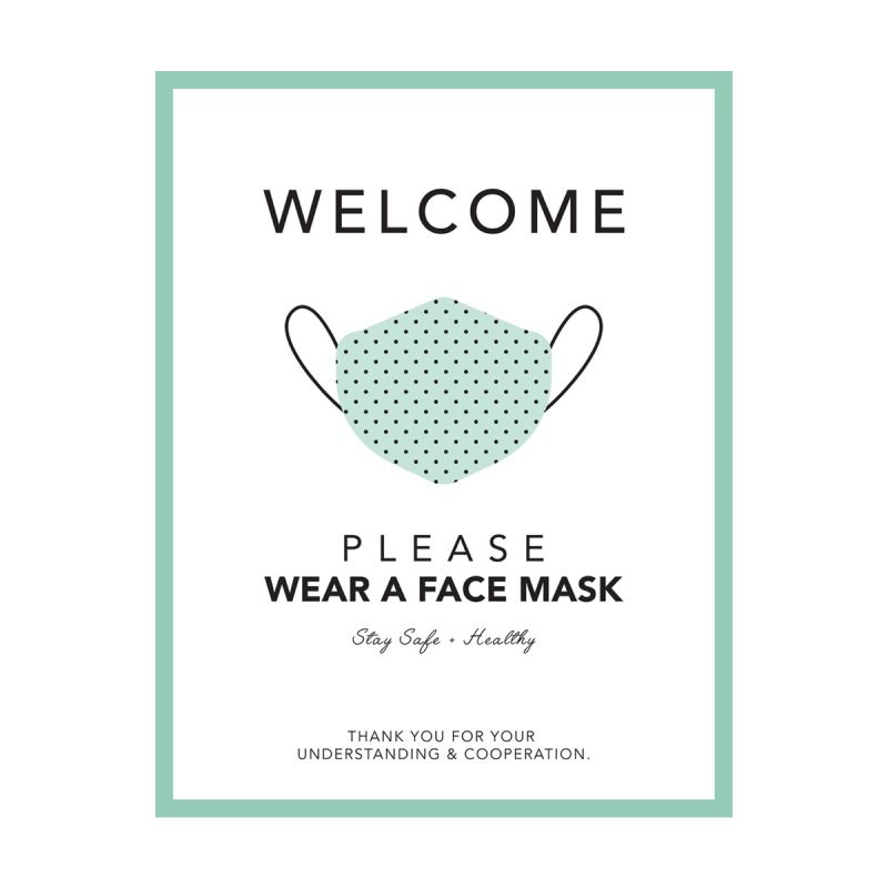 Please Wear A Mask - Wall Sticker Sign - Boutique Style - Mint Green - Single