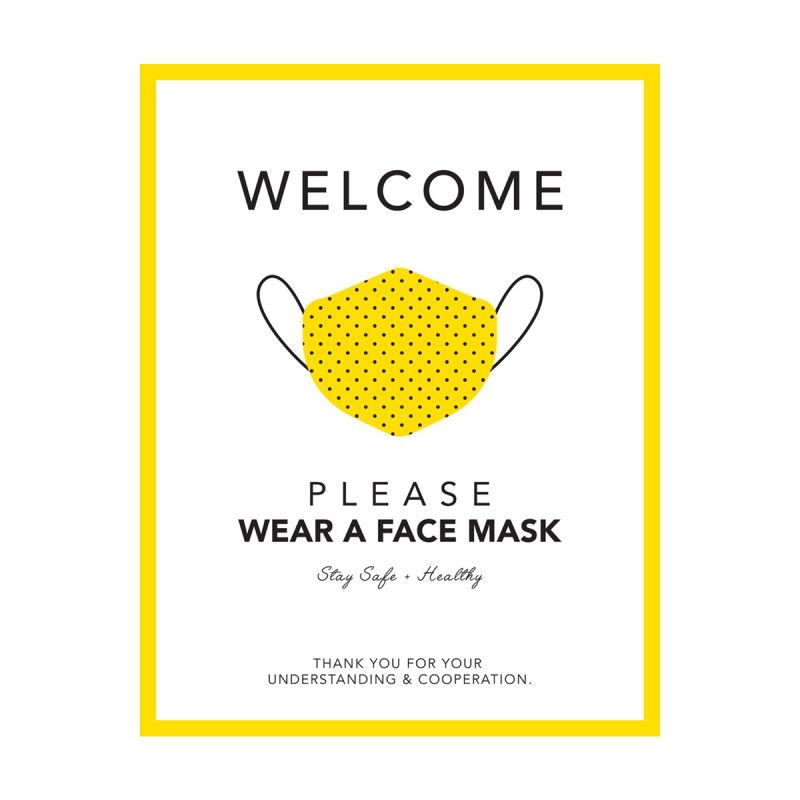 Please Wear A Mask - Wall Sticker Sign - Boutique Style - Yellow - Single