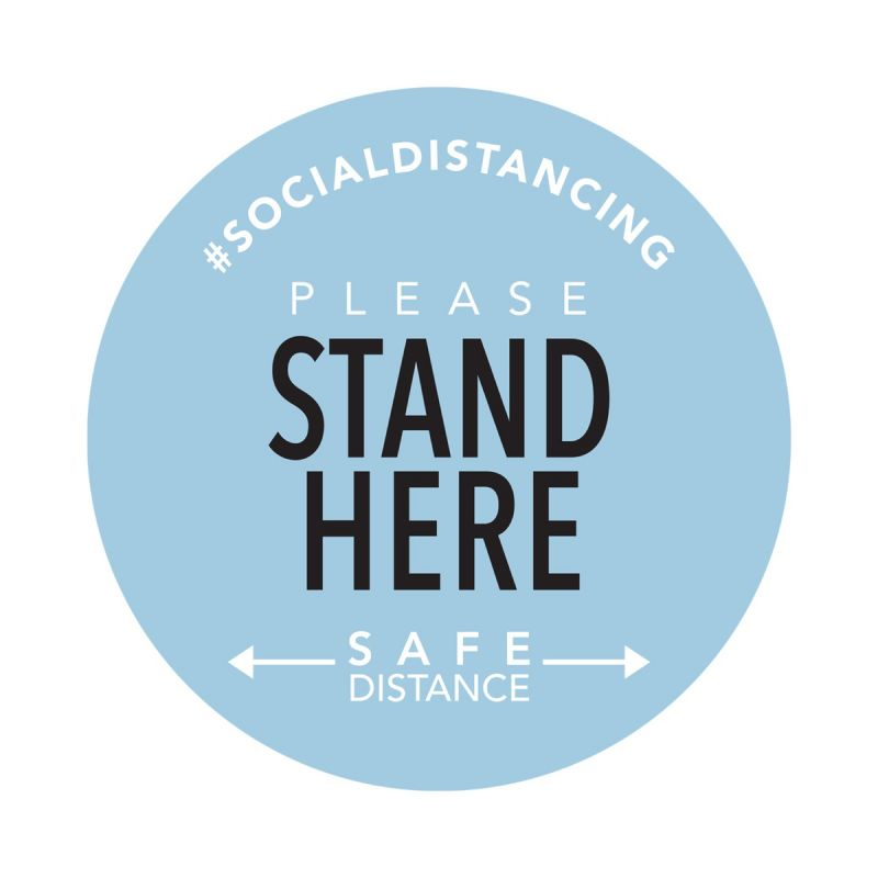 Stand Here - Floor Sticker - Boutique Style - Sky Blue - 5 Pack
