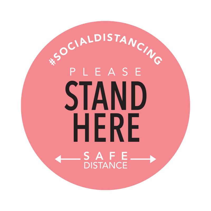 Stand Here - Floor Sticker - Boutique Style - Coral - 5 Pack