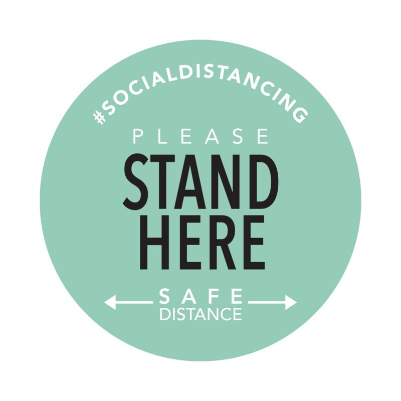 Stand Here - Floor Sticker - Boutique Style - Mint Green - 5 Pack