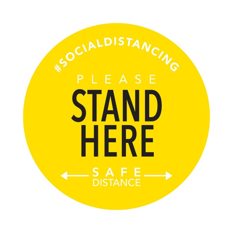 Stand Here - Floor Sticker - Boutique Style - Yellow - 5 Pack