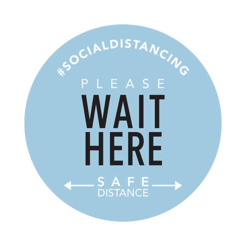Wait Here - Floor Sticker - Boutique Style - Sky Blue - 5 Pack