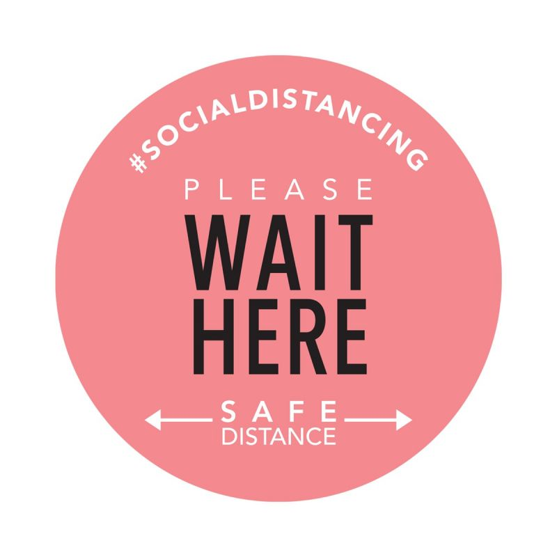 Wait Here - Floor Sticker - Boutique Style - Coral - 5 Pack