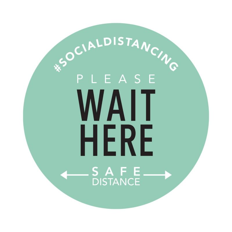 Wait Here - Floor Sticker - Boutique Style - Mint Green - 5 Pack