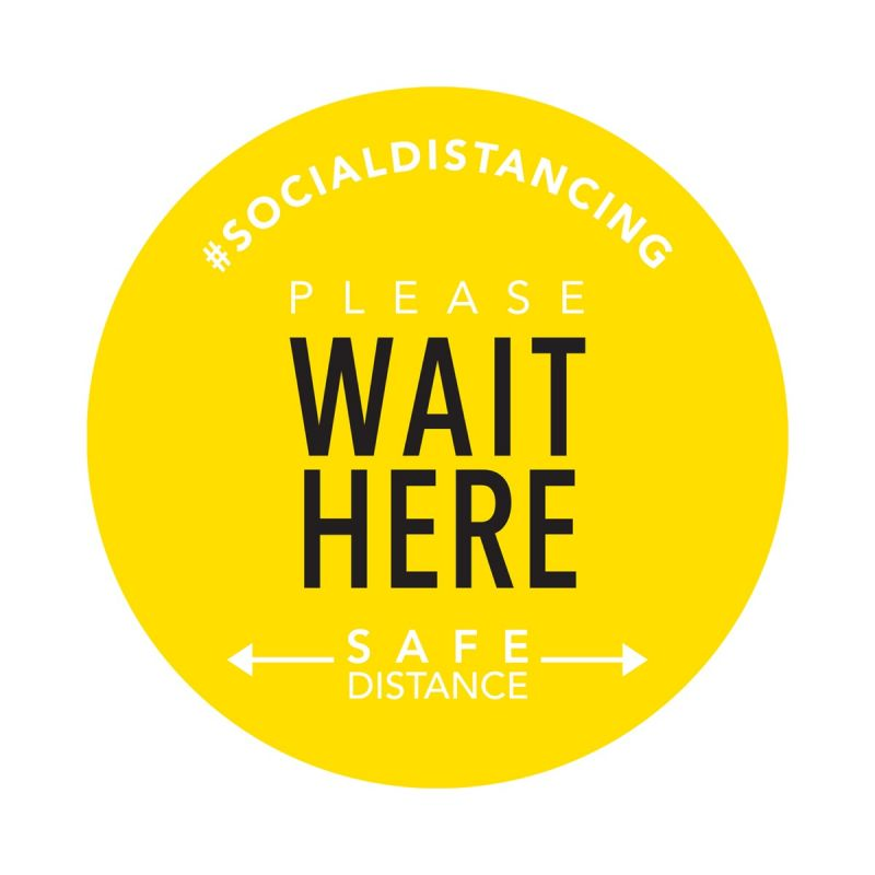 Wait Here - Floor Sticker - Boutique Style - Yellow - 5 Pack