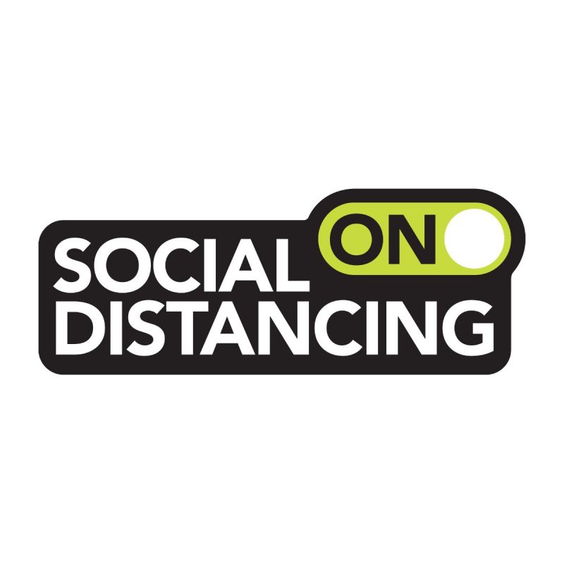 Social Distancing On - Wall Sticker Sign - Retail Style