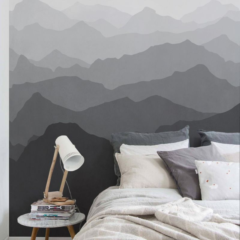 Mountain Mural Wall Art Wallpaper - Black and White