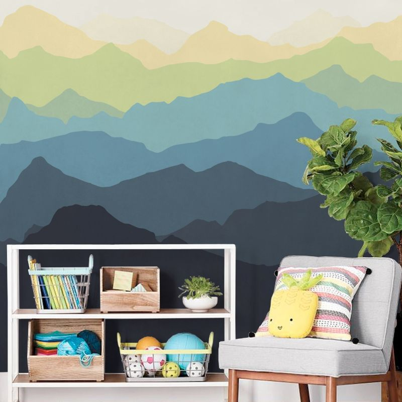 Mountain Mural Wall Art Wallpaper - Navy Yellow