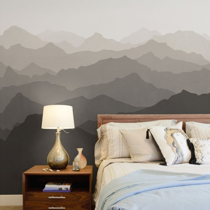 Mountain Mural Wall Art Wallpaper - Warm Grey