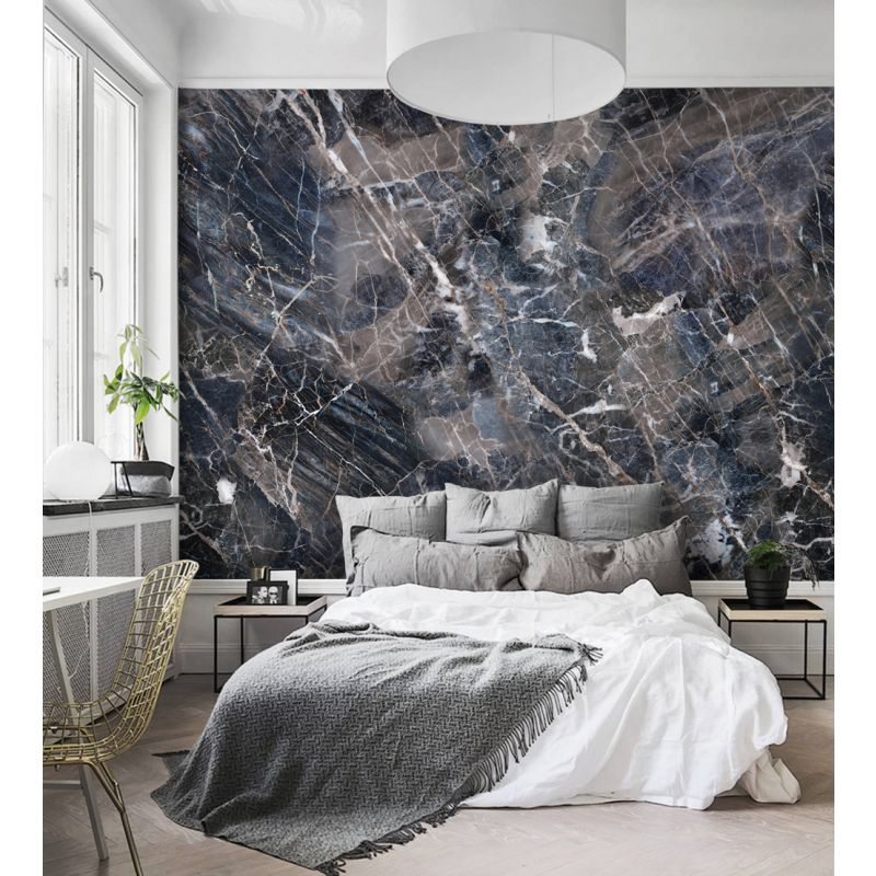 Marble Wallpaper-Navy
