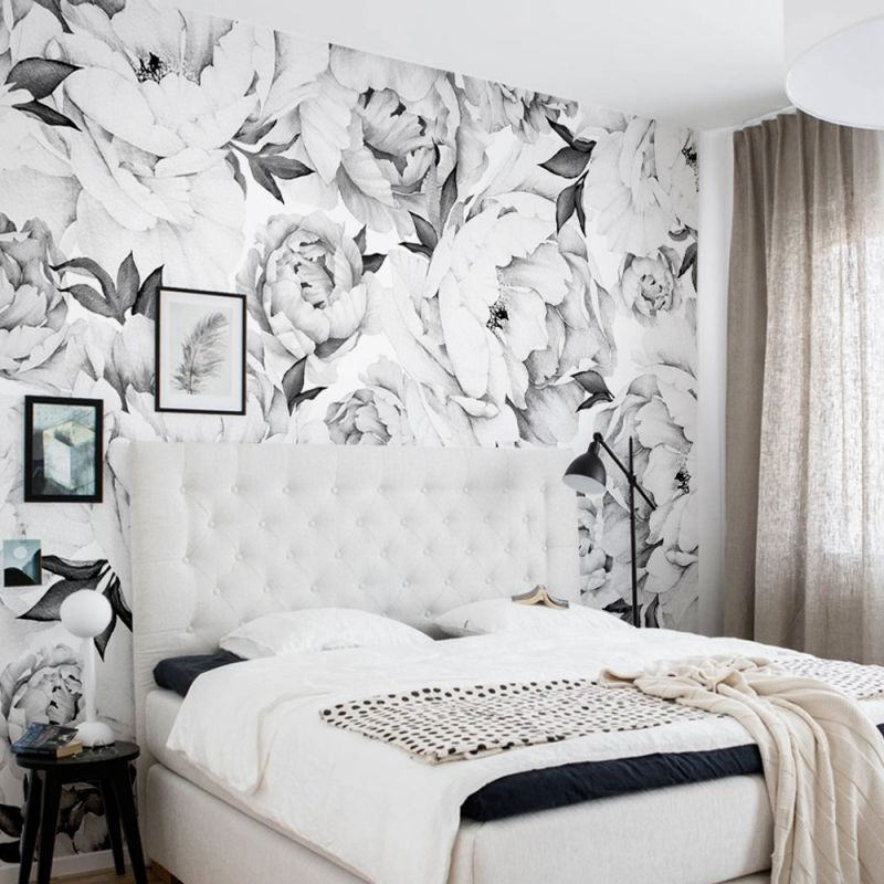 Peony Flower Mural - Black and White
