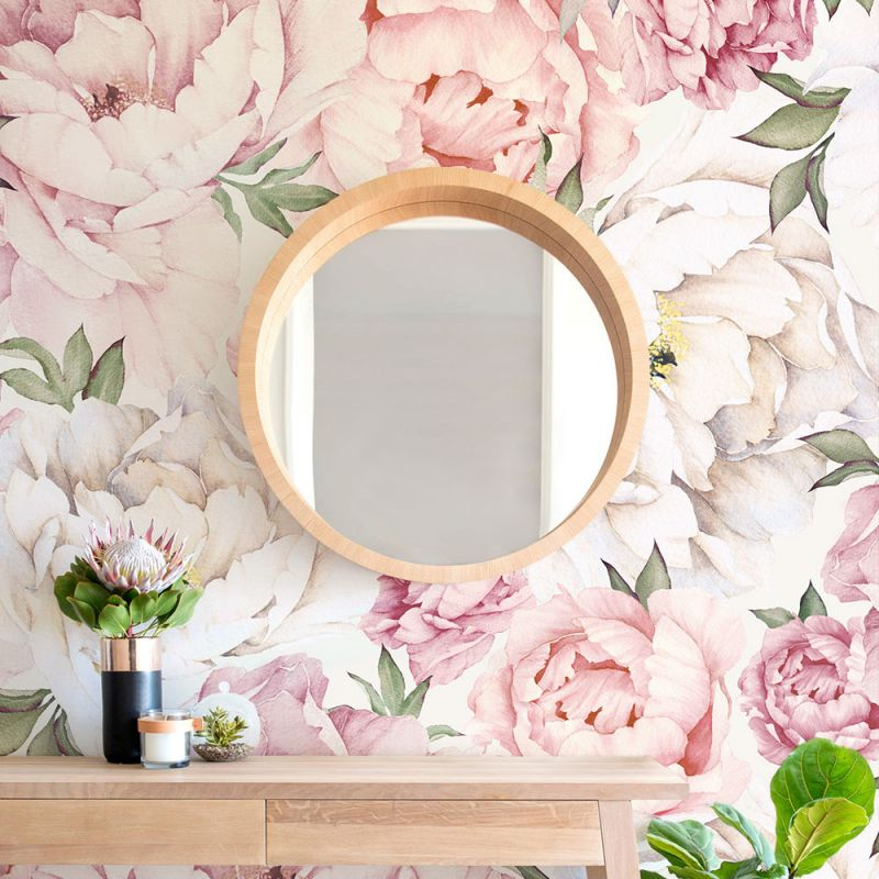 Peony Flower Mural - Mixed Pink