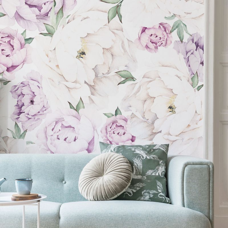 Peony Flower Mural Wall Art Wallpaper - Peel and Stick-Peony Flower Lilac