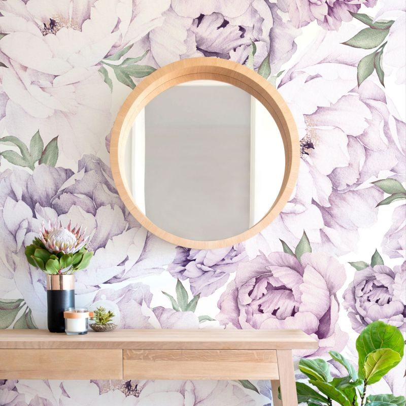 Peony Flower Mural Wall Art Wallpaper - Peel and Stick - Peony Flower Mixed Lavender Purple