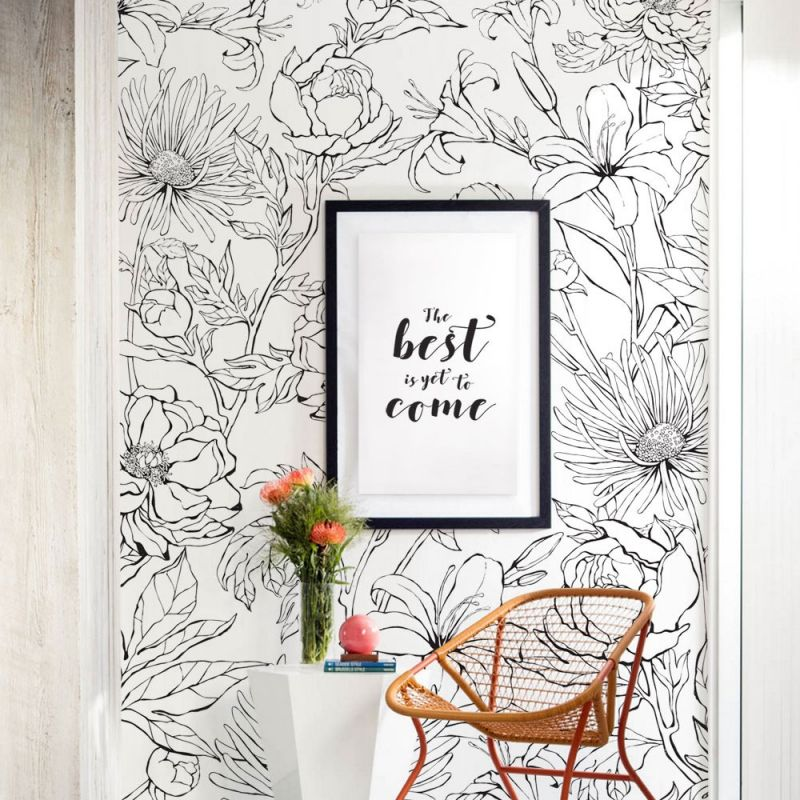 Botanical Garden Hand Drawn Flowers Mural