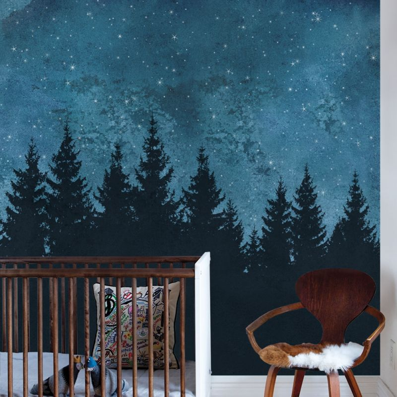 Forest Trees Night Scene Mural