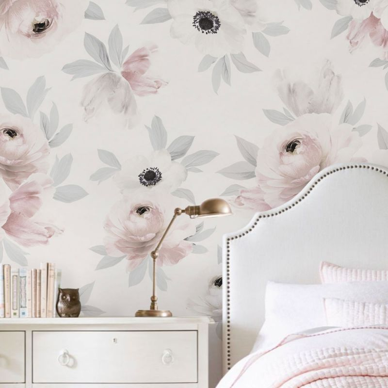 Flower Mural Wall Art Wallpaper - Peel and Stick