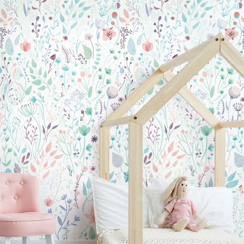 Wild Flowers Mural Wall Art Wallpaper - Peel and Stick