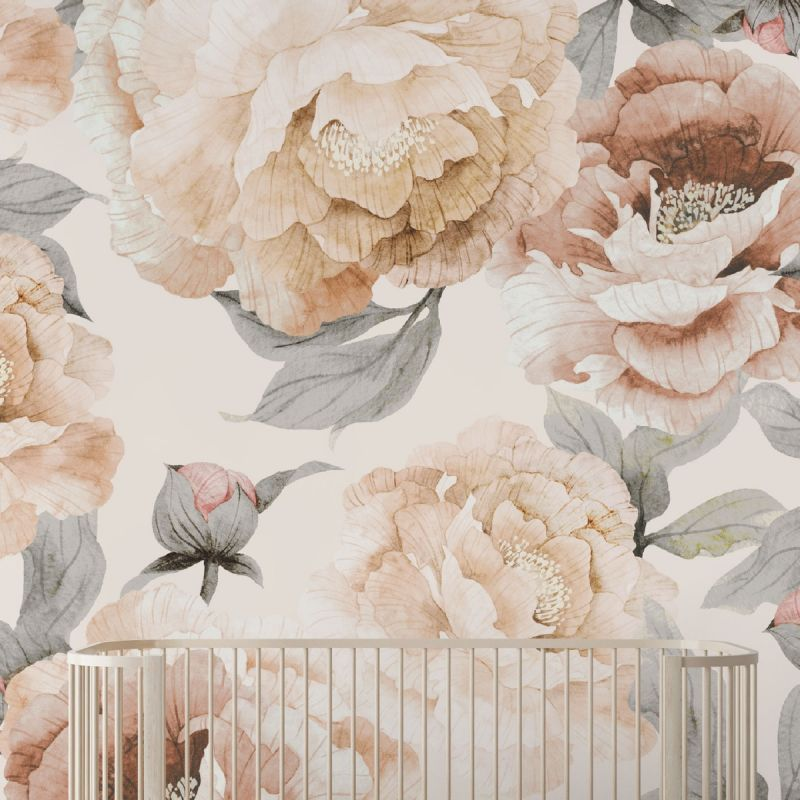 Bloom Flower Mural Wall Art Wallpaper - Light Grey - Peel and Stick