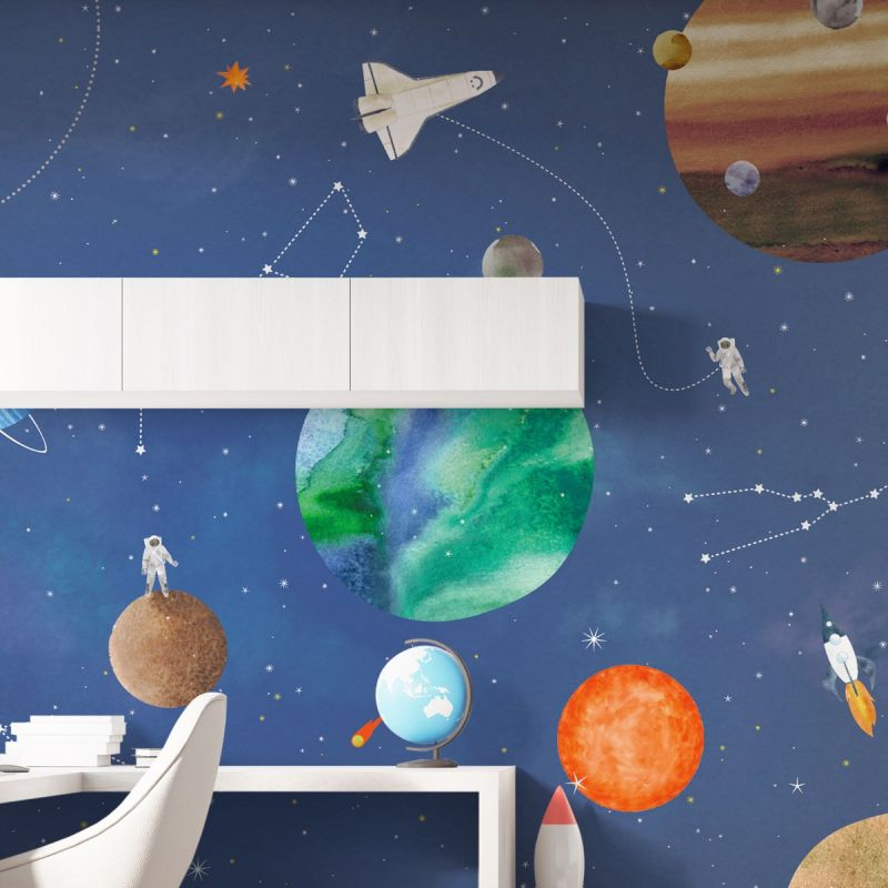 Space Mural Wall Art Wallpaper - Blue - Peel and Stick