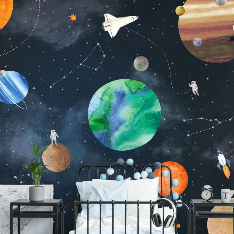 Space Mural Wall Art Wallpaper - Navy - Peel and Stick