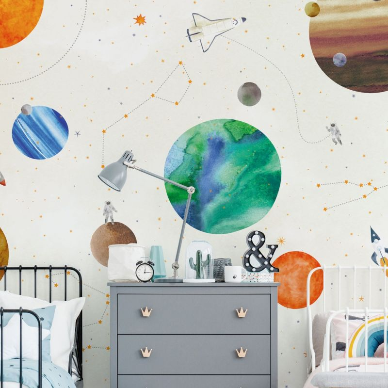 Space Mural Wall Art Wallpaper - White - Peel and Stick